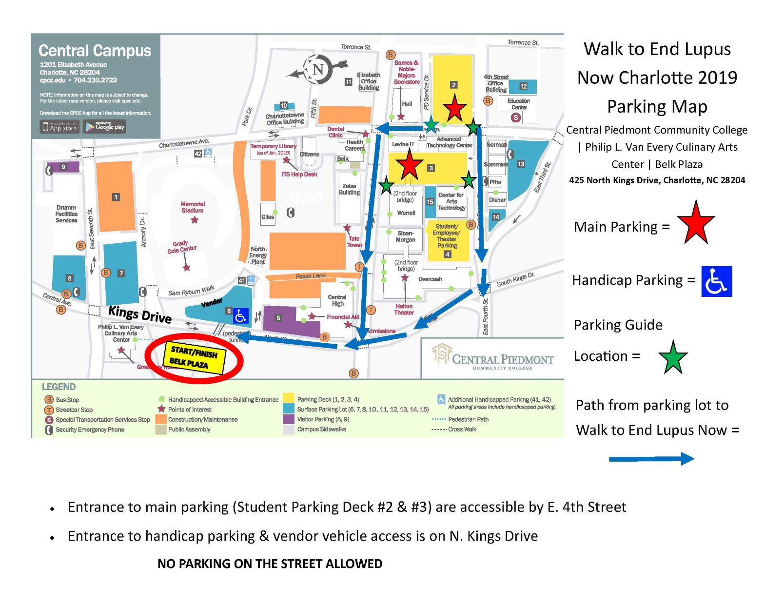 Parking Map - 2019 Walk To End Lupus Now Charlotte- Parking